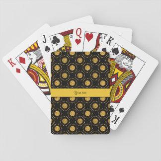 Sparkly Orange Polka Dots Black Playing Cards