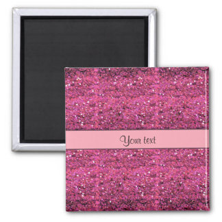 Sparkly Pink Glitter Square Magnet