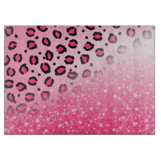 Sparkly Pink Leopard Print Decor For Teen Girls Cutting Board