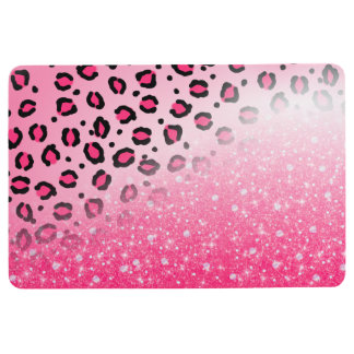 Sparkly Pink Leopard Print Decor For Teen Girls Floor Mat