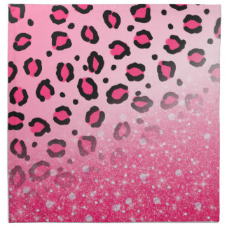 Sparkly Pink Leopard Print Decor For Teen Girls Napkin