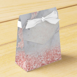 Sparkly Pink Rose Gold Bohemian Marble Favor Box
