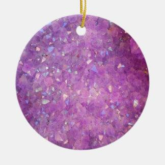 Sparkly Pinky Purple Aura Crystals Ceramic Ornament