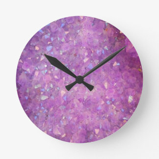 Sparkly Pinky Purple Aura Crystals Round Clock