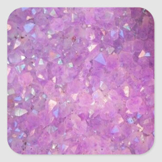 Sparkly Pinky Purple Aura Crystals Square Sticker