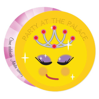 Sparkly Princess Emoji Birthday Party Invitations