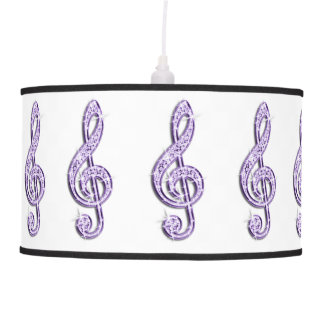 Sparkly Purple/ Lilac Music Note Hanging Pendant Lamp