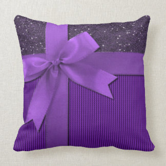 Sparkly Purple Ribbon Throw Pillow