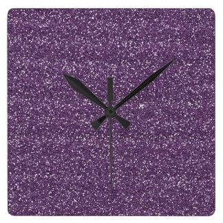 Sparkly Purple & Silver Glitter Square Wall Clock
