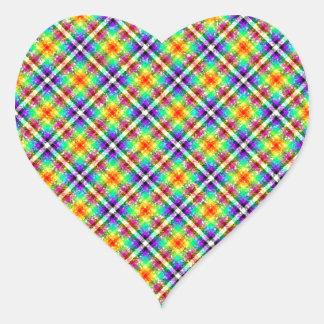Sparkly Rainbow Gingham Plaid Heart Sticker