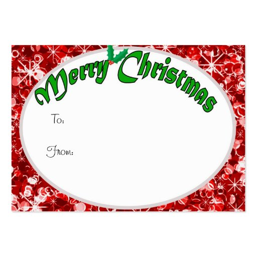 Sparkly Red Christmas gift tag Business Card
