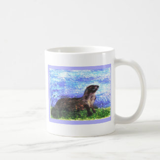 Sparkly River Otter Art Coffee Mug