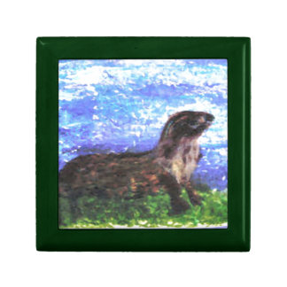 Sparkly River Otter Art Jewelry Boxes