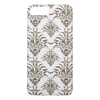 Sparkly Silver Gemstone Damask Pattern Phone Case