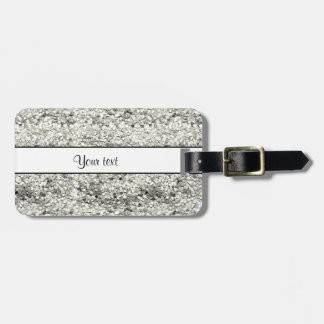 Sparkly Silver Glitter Luggage Tag
