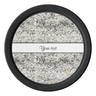 Sparkly Silver Glitter Poker Chip Set
