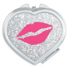 Sparkly Silver Kiss Compact Mirror