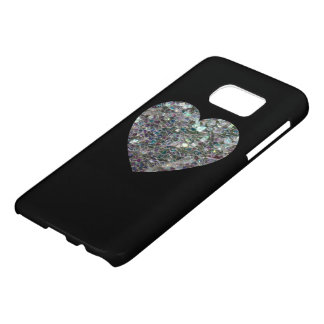 Sparkly silver mosaic Heart on Black Samsung Galaxy S7 Case