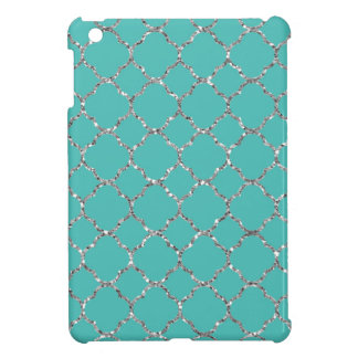Sparkly Silver Quatrefoil Teal iPad Mini Case
