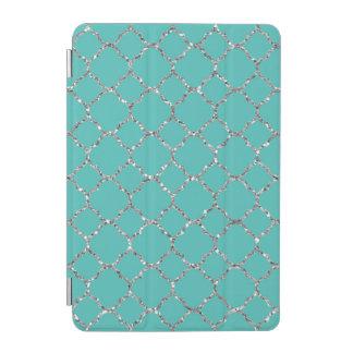 Sparkly Silver Quatrefoil Teal iPad Smart Cover iPad Mini Cover
