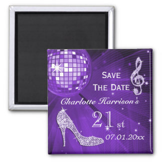 Sparkly Stiletto Heel 21st Birthday Save The Date Magnet
