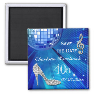 Sparkly Stiletto Heel 40th Birthday Save The Date Fridge Magnets