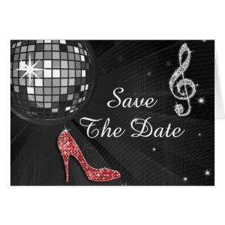 Sparkly Stiletto Heel 50th Birthday Save The Date Card