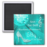 Sparkly Stiletto Heel 50th Birthday Save The Date Magnets