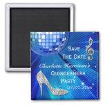 Sparkly Stiletto Heel Quinceañera Save The Date Fridge Magnets