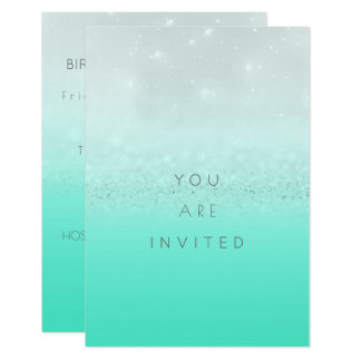 Sparkly Surprise Party Invitation Mint Silver