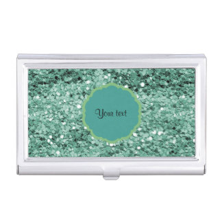 Sparkly Teal Glitter Business Card Holders