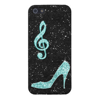Sparkly Teal Music Note & Stiletto Heel Case For The iPhone 5