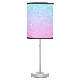 Sparkly Turquoise Pink Ombre Glitter Table Lamp