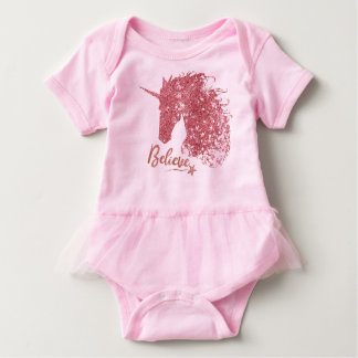 Sparkly Unicorn-Believe (Rose Gold) Baby Bodysuit