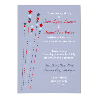 Sparks Fly Fourth of July Wedding Invitation