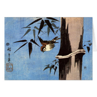 Sparrow and Bamboo, Ando Hiroshige Card