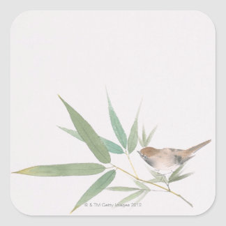 Sparrow and Bamboo Square Sticker
