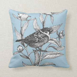 sparrow and peonies elegant blue throw pillow