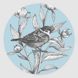 sparrow and peonies spring blue envelope stickers