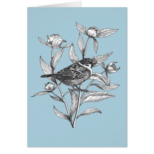 sparrow and peonies spring vibe greeting card