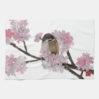 Sparrow, Cherry Blossoms Kitchen Towel
