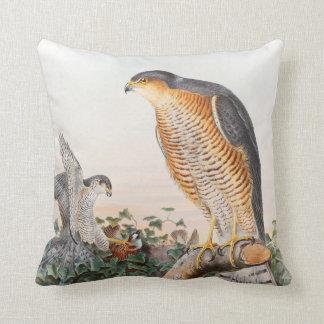 Sparrow Hawk John Gould Birds of Great Britain Throw Pillow