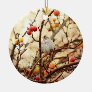 Sparrow in a Crab Apple Tree Ceramic Ornament