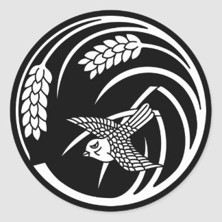 Sparrow in rice-plant circle classic round sticker