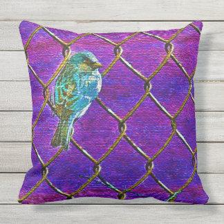 SPARROW ON A FENCE(Purple) Throw Pillow