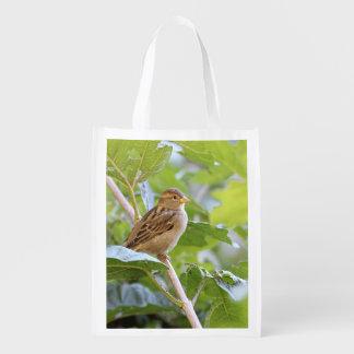 Sparrow photo reusable grocery bag
