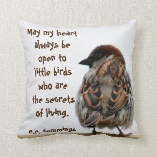 Sparrow photography throw pillow