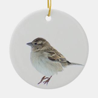 Sparrow Round Ceramic Ornament