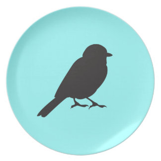 Sparrow silhouette chic blue swallow bird plates