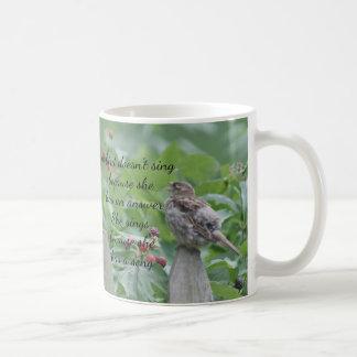 Sparrow singing coffee mug